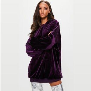 Londunn Missguided Purple Velvet Hooded Mini Dress